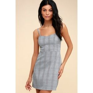 Grey After School Plaid Mini Shift Dress